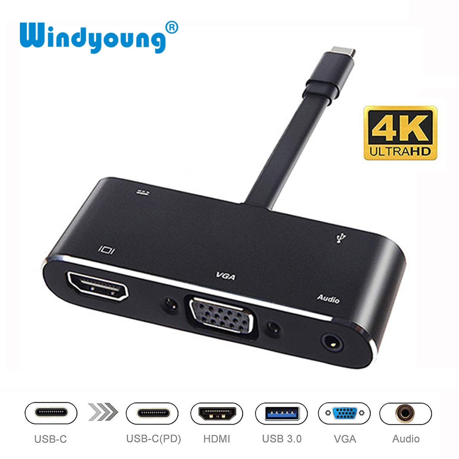 USB Type C HUB USB-C To HDMI 4K USB3.0 Audio VGA HUB Thunderbolt 3 Adapter For MacBook Pro Samsung Note8 S8 S9 Dex Mode Nintendo