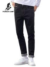 Pioneer Camp męskie czarne dżinsy klasyczna jesień wysokiej jakości spodnie na co dzień proste spodnie jeansowe męskie 2020 ANZ908219A