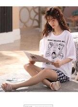 Kobiety dziewczęta odzież domowa ubrania z krótkim rękawem letnie sprawdzone zestawy piżamowe chusta bawełniana bielizna nocna salon O neck odzież wewnętrzna