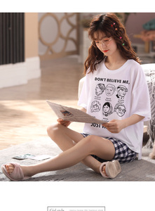 Image 1 - Women girls Home wear clothes short Sleeve summer checked Pajamas Sets plaid Cotton Sleepwear Lounge O neck indoor clothing