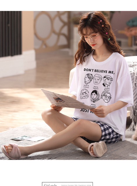 Women girls Home wear clothes short Sleeve summer checked Pajamas Sets plaid Cotton Sleepwear Lounge O neck indoor clothing