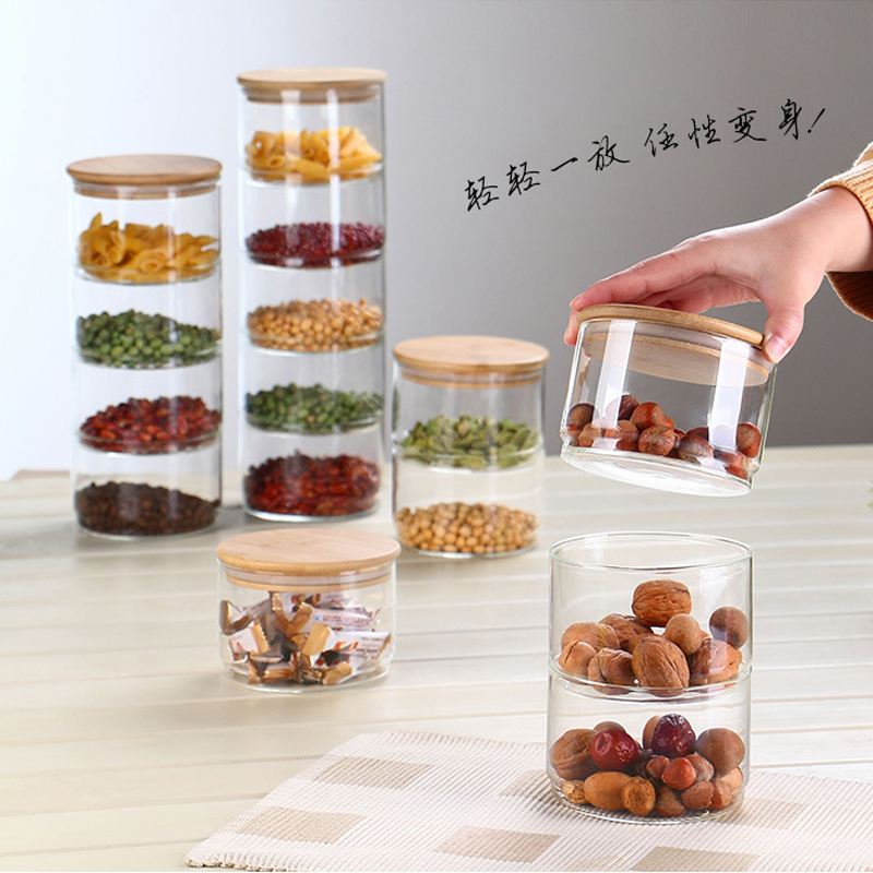 New 1200 Ml 3-layer Glass Can Kitchen Food Bulk Container Set For Spice Dry Fruit Storage Tank Salad Bowl Box