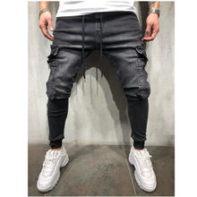 Mannen Hip Hop Joggingbroek Skinny Jeans Man Pocket Cargo Broek Denim Rits Designer Zwarte Jeans Heren Casual Mannen Jeans Broek(China)