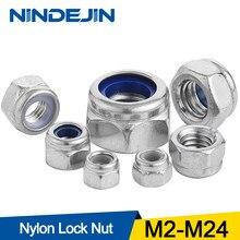 NINDEJIN Nylon Borgmoer 304 Rvs Hex Hexagon Borgmoer M2 M2.5 M3 M4 M5 M6 M8 M10 M12 M14 m16 M20 M24 Nylon Moer DIN985