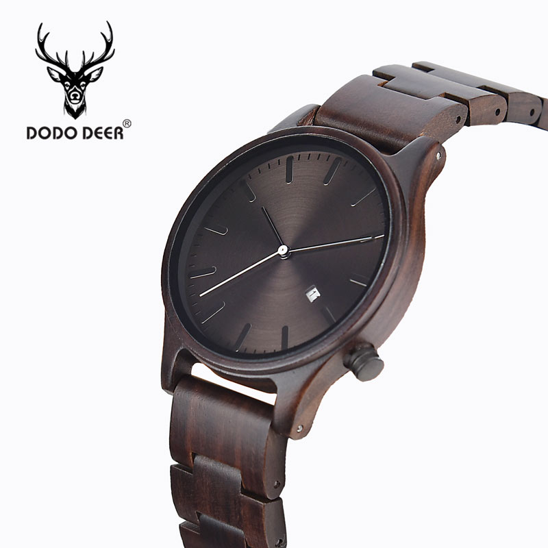DODO DEER Men's Wood Watches Retro Ebony Wood Clock Male Unique Wooden Adjustable Band Quartz Wristwatch Relogio Masculino B09