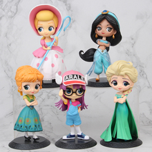 цена на Disney Q Posket Bo Peep Anna Aisha ARALE Original Princesses figures frozen Toys Dolls PVC Figures collection toys for child