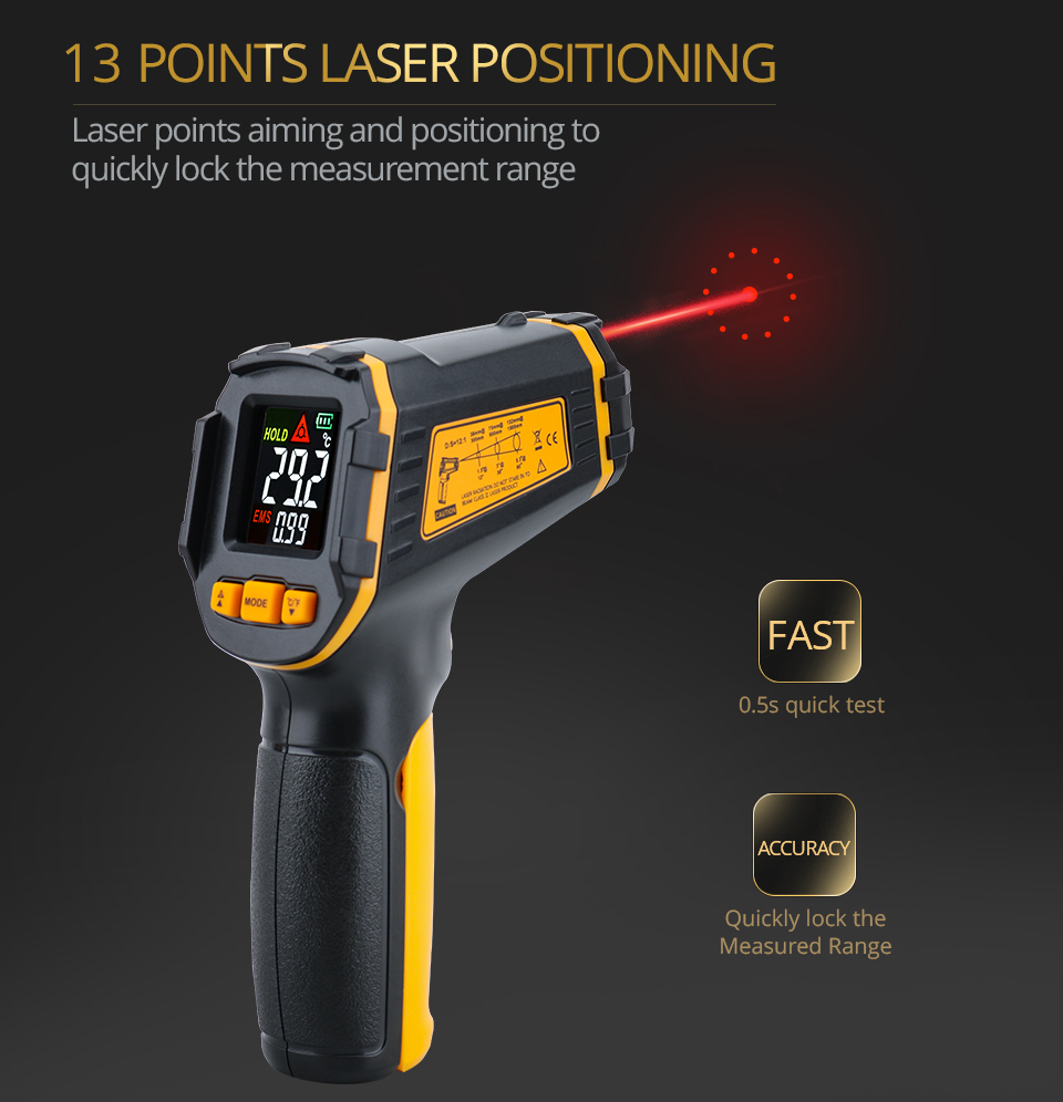 Цифровой ИК-термометр, лазерный Бесконтактный измеритель температуры и влажности с цветным ЖК-дисплеем и сигнализацией 2