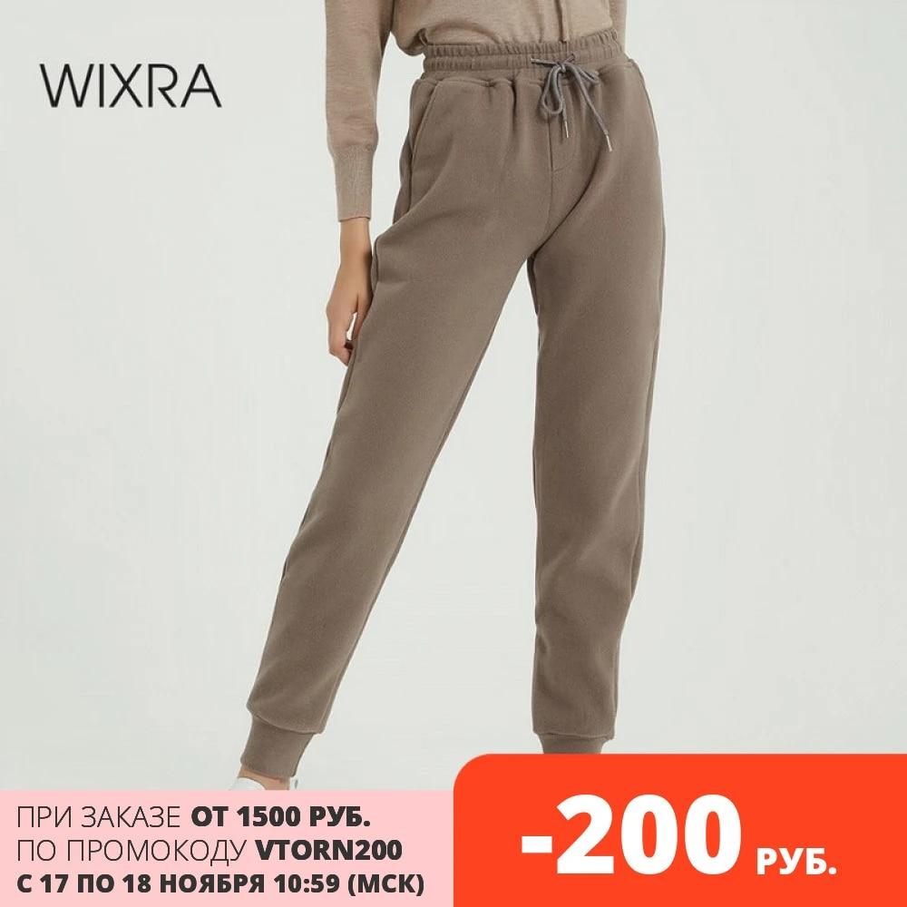 Женские повседневные Бархатные брюки Wixra, зимние плотные шерстяные брюки, женская одежда, длинные брюки на шнуровке