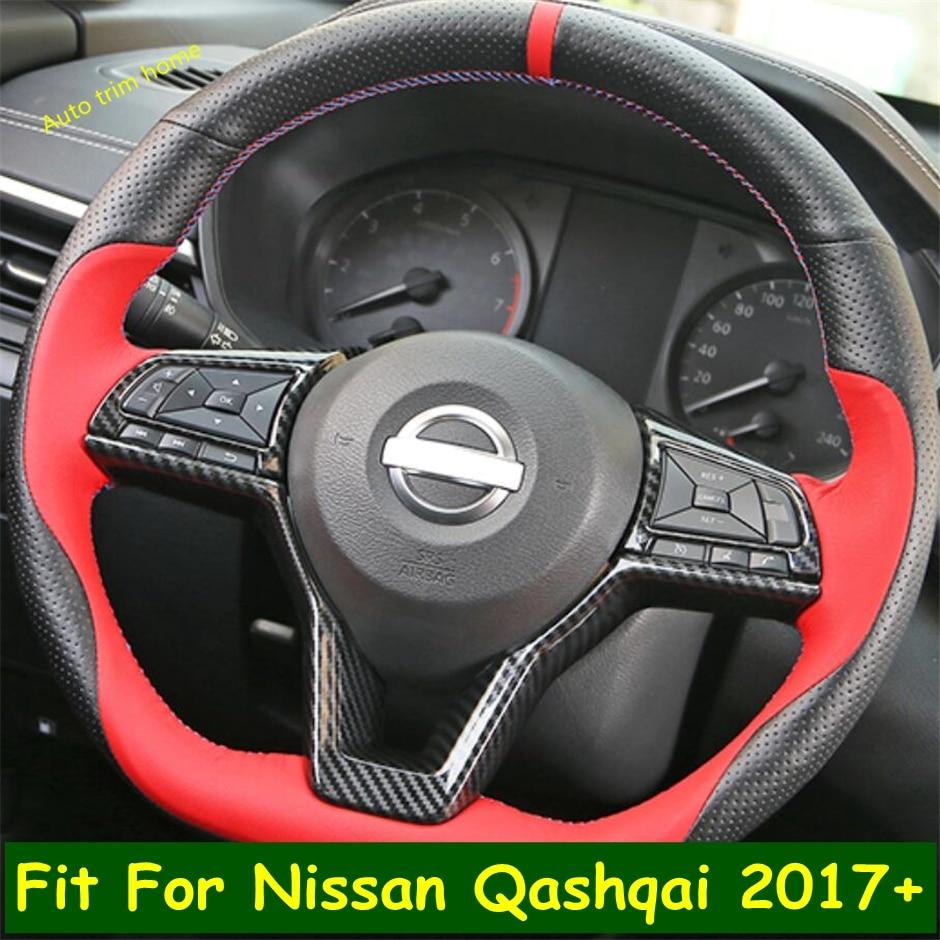 Lapetus Lenkrad Taste Rahmen Abdeckung Trim Fit Für Nissan Qashqai J11 2017 2018 2019 2020 Carbon Fiber ABS Auto zubehör
