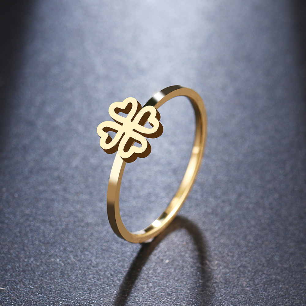DOTIFI For Women Rings 316L Stainless Steel Lucky Clover Ring Girl Wedding Party Jewelry R321(China)