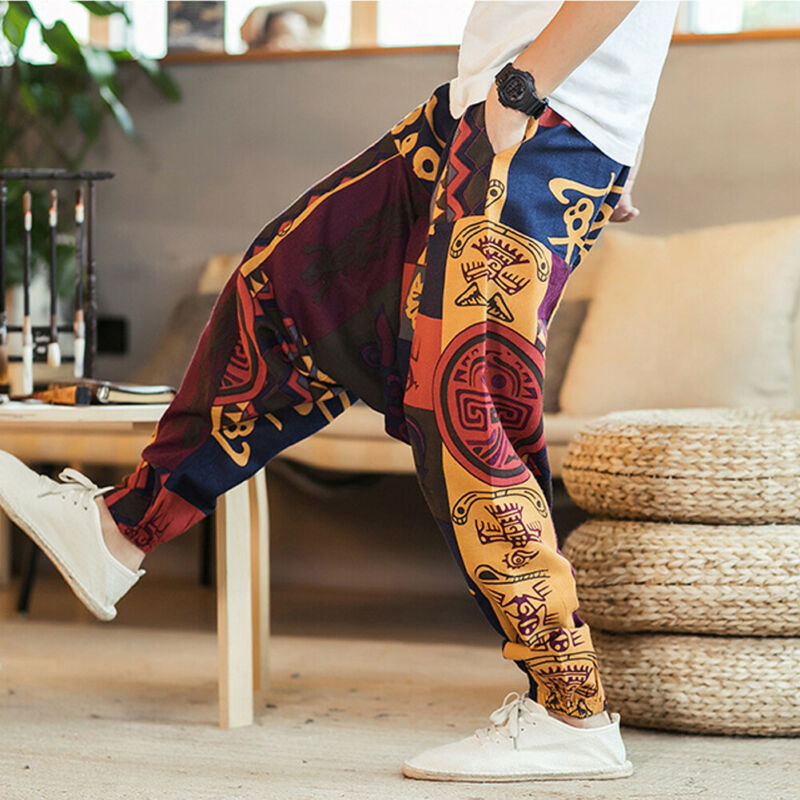 2019 Autumn Men Cotton Pockets Harem Pants Hip Hop Joggers Gypsy Hippie Drop Crotch Mens Pants Man Sweatpants Streetwear M-3XL