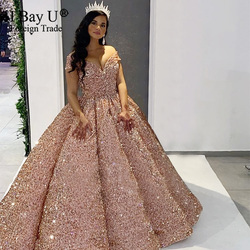 Echt des Kunden Zeigen Frankreich Sparkle Schatz Weg Von Schulter Hochzeit Kleid 2020 Blass Rose Ballkleid verde lujo vestidos de novia