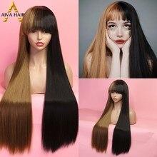 Aiva cabelo de fibra de alta temperatura peruca sintética com bnags longo reta metade blone preto não-laço peruca cosplay perucas para mulher