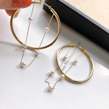 Y211 Fine Jewelry 18 K Yellow Gold Natural Diamonds Japan Origin Akoya Pearls 3-4mm Drop Earrings for Women Fine Pearls 1