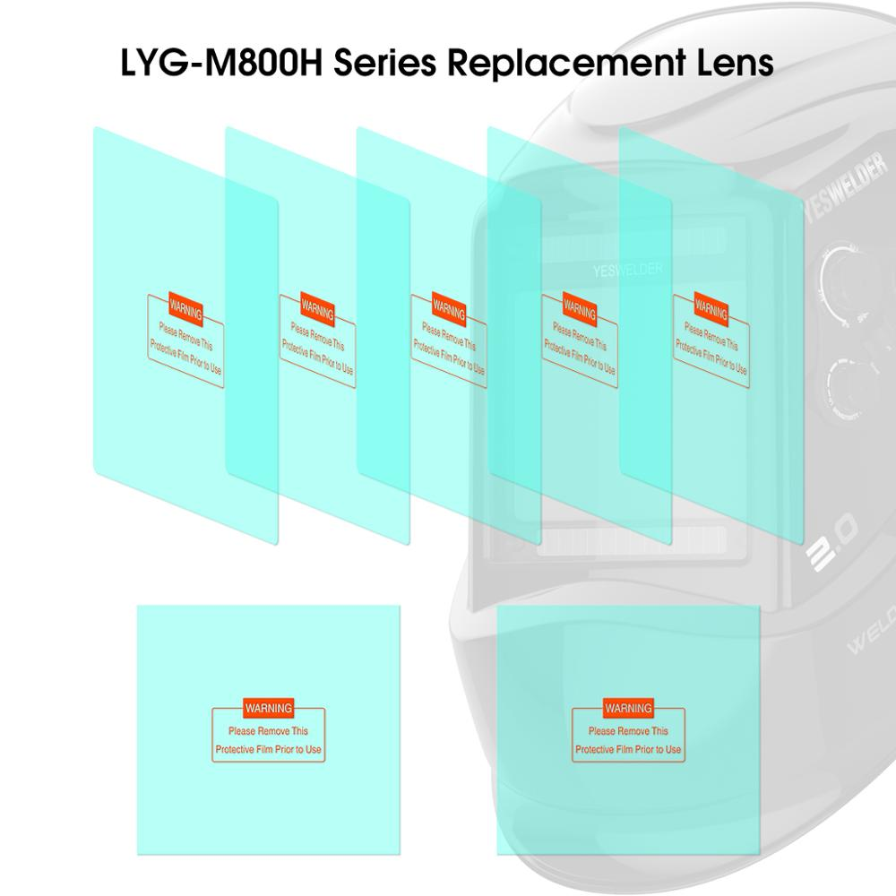 YESWELDER 5 Pcs Large Viewing Screen Outer Replacement Lens And 2 Pcs Inner Replacement Lens For LYG-M800H Series Welding Helmet