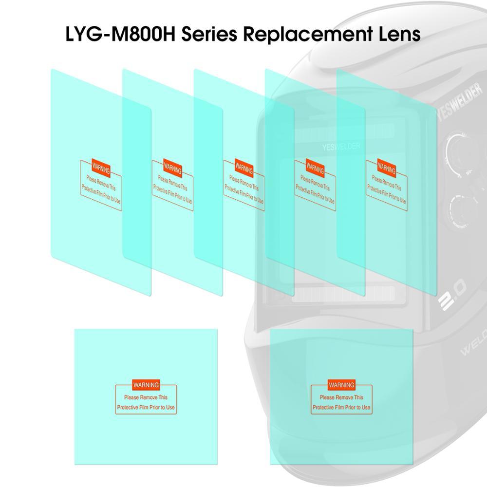 YESWELDER 5 Pcs Large Viewing Screen Outer Replacement Lens And 2 Pcs Inner Replacement Lens For LYG-M800H Series Welding Helmet