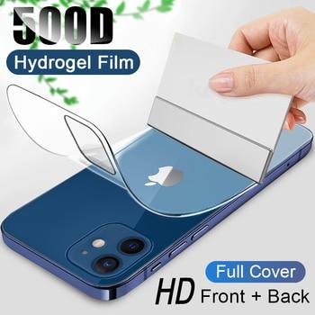 500D couverture complète Hydrogel film pour iPhone 11 12 Pro MAX mini protecteur décran pour iPhone 7 8 6s 6 plus SE 2020 XR X XS pas de verre