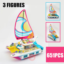цены  01038 Friends Lepin Sunshine Catamaran Dolphins Olivia Stephanie Girl Building Block Compatible 41317 Brick Toy