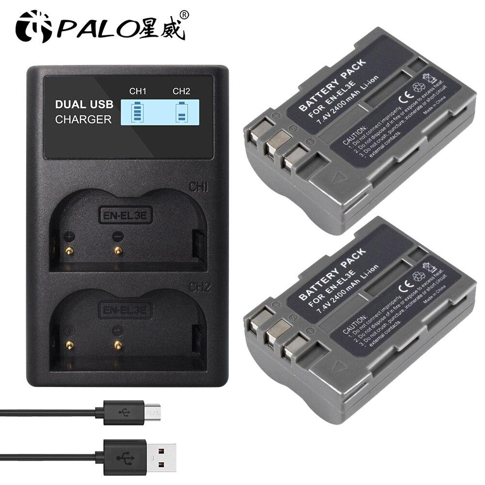 Batterie de caméra AKKU + chargeur USB LCD, EN-EL3e mAh, pour Nikon D30 D50 D70 D70S D90 D80 D100 D200 D300, EL3e, 2400
