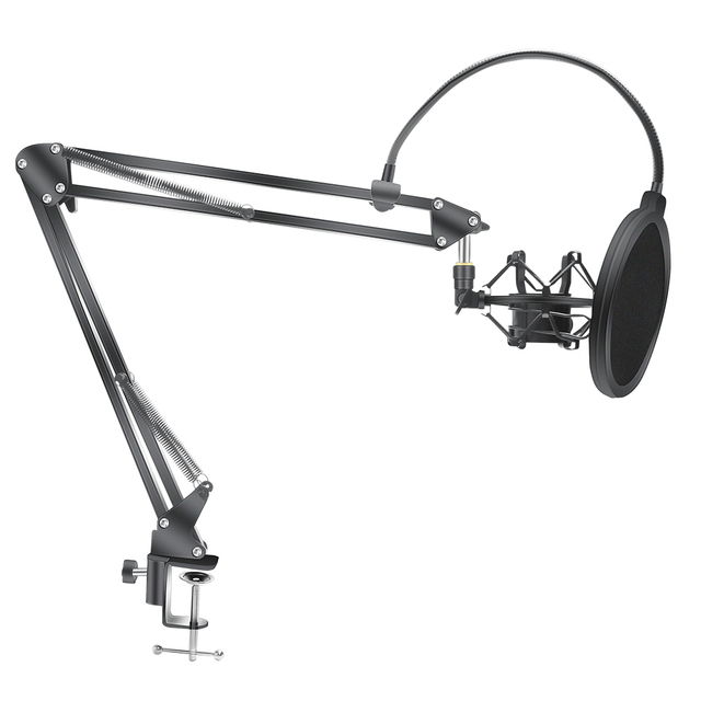 Microphone Scissor Arm Stand Bm800 Holder Tripod Microphone Stand F2 With A Spider Cantilever Bracket Universal Shock Mount