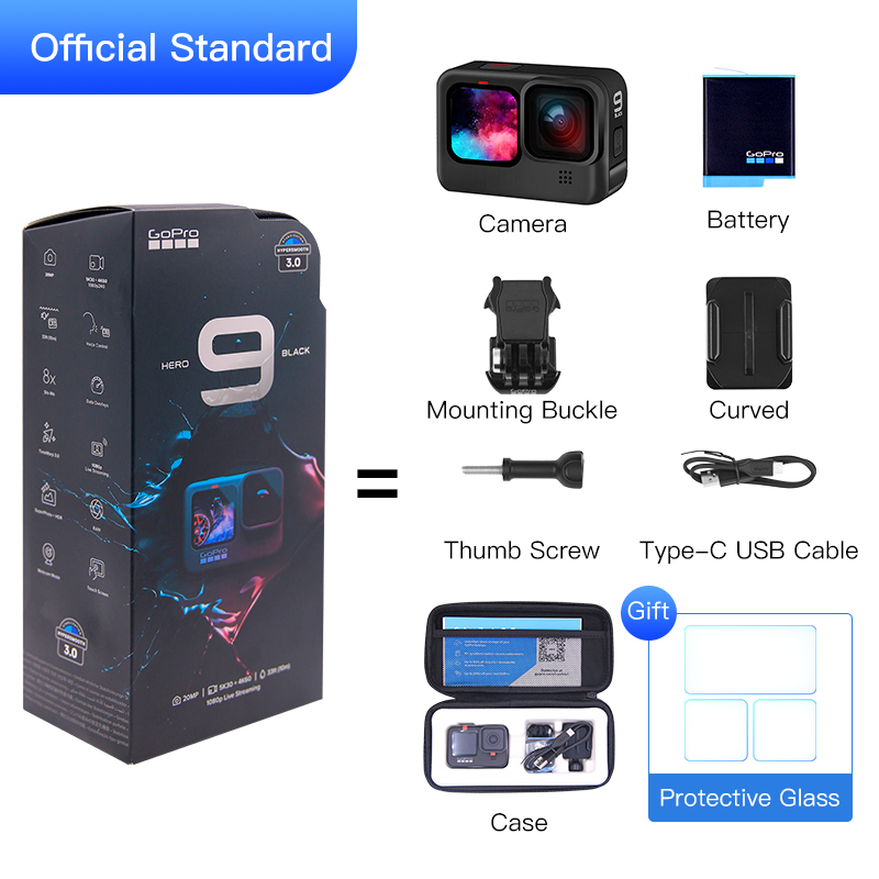 GoPro HERO 9 Black Underwater Action Camera 4K 5K with Color Front Screen, Sports Cam  20MP Photos, Live Streaming Go Pro HERO 9-5