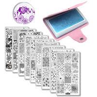 9 Nail Plates +1 Stamper + 1 Scraper +1 Storage Bag Creative Nail Art Image Stamp Stamping Plate Manicure Template Nail Art Tool