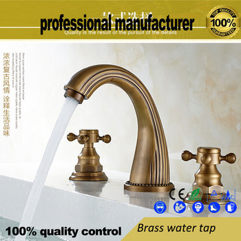 European style copper hot and cold basin faucet Antique three-hole wash basin faucet bathroom copper basin faucet