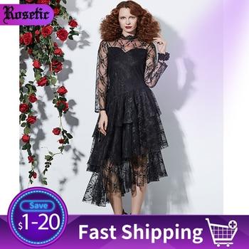 Rosetic Women Sexy Lace Dress Black Gothic Ruffles Asymmetric Mesh See Through Elegant Ladies Summer Club Party Midi Dresses asymmetric see through babydoll