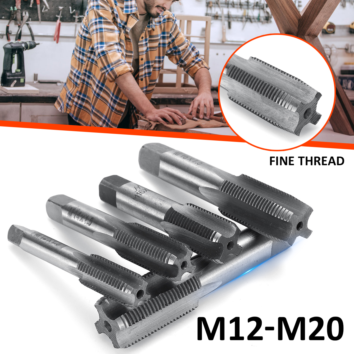 2pcs M12 M14 M16 M18 M20 HSS Right Hand Machine Straight Fluted Fine Screw Thread Metric Plug Hand Tap Drill Set Hand Tools