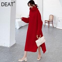 Женский Длинный свитер с высоким воротом DEAT, Свободный Длинный пуловер с длинными рукавами, зима 2020, 19F-a148-05