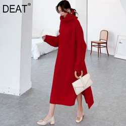 DEAT 2020 new winter thickness turtleneck full sleeves knits loose long big size outwear sweater pullover 19F-a148-05