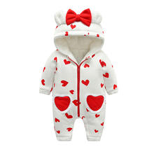 IYEAL Winter Rompers Baby Girl Newborn Clothes Children Toddler Girls Jumpsuit Kids Warm Fleece Inner Hooded Overalls With Bow