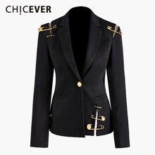 CHICEVER 블랙 블레이저 여성용 노치 싱글 버튼 슬림 대형 캐주얼 한국 블레이저 여성 2020 Fashion New Clothes