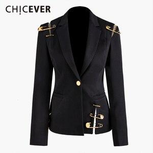Image 1 - CHICEVER Blazer Nero Per Le Donne Con Intaglio Singolo Pulsante di Grandi Dimensioni Slim Casual Coreano Giacche Femminile 2020 di Nuovo Modo di Vestiti