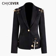 CHICEVER Blazer negro con muescas para mujer, chaqueta entallada de un solo botón, talla grande, informal, estilo coreano, 2020