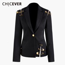 CHICEVER שחור בלייזר לנשים מחורצים יחיד כפתור Slim גדול גודל מזדמן קוריאני טרייל נקבה 2020 אופנה בגדים חדשים