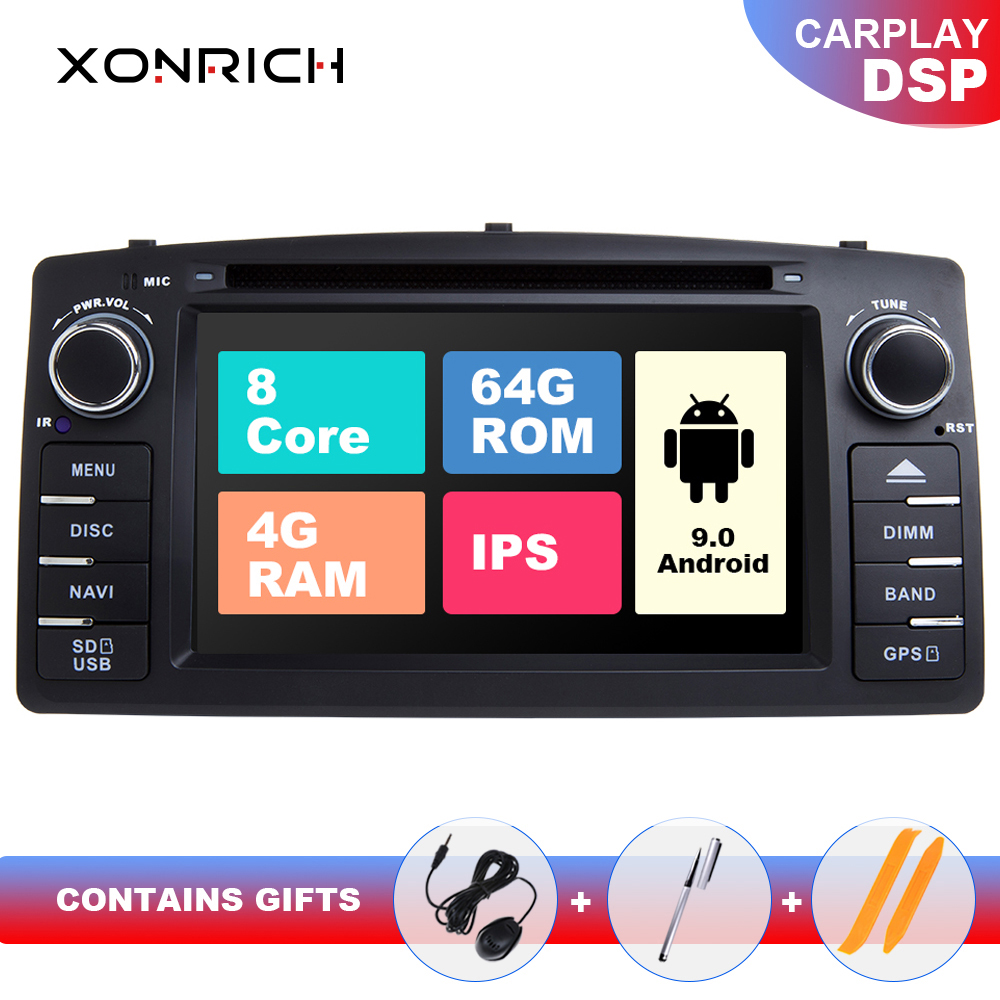 DSP 4GB 64G Android 9.0 Car DVD Player For Toyota Corolla E120 BYD F3 2 Din Car Multimedia Stereo GPS AutoRadio Navigation 8Core