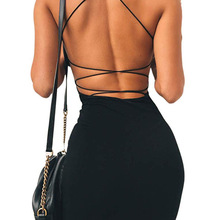 Mini Dress Clubwear Spaghetti-Straps Backless Bodycon Low-Neck Women Sexy