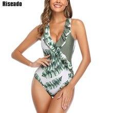 Riseado bañador con estampado de hojas para mujer, traje de baño con cuello en V, ropa de playa con volantes y Espalda descubierta, ropa de baño para mujer 2020
