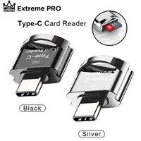 Minilector de tarjetas USB 3,0, lector de tarjetas de memoria portátil tipo C de 8-256GB, adaptador Micro SD OTG, tipo C, para Samsung, Macbook y Huawei