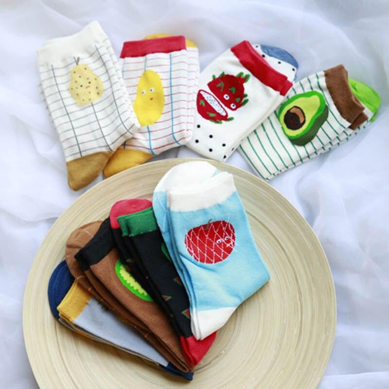 Funny Cotton Long Socks Avocado Plant Fruit Socks New Cartoon Tube Happy Socks 1Pair For Women Winter Spring Autumn
