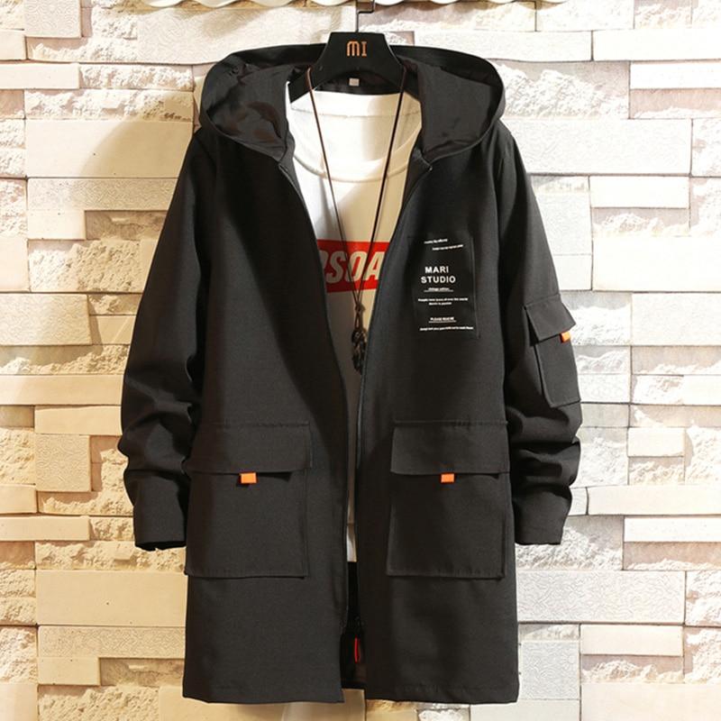 Новинка 2020, ветровка средней длины, Тренч для мужчин, соотношение цены и качества, осенняя мужская Красивая Черная куртка с капюшоном, Молодежная Тонкая Повседневная куртка|Куртки| | АлиЭкспресс