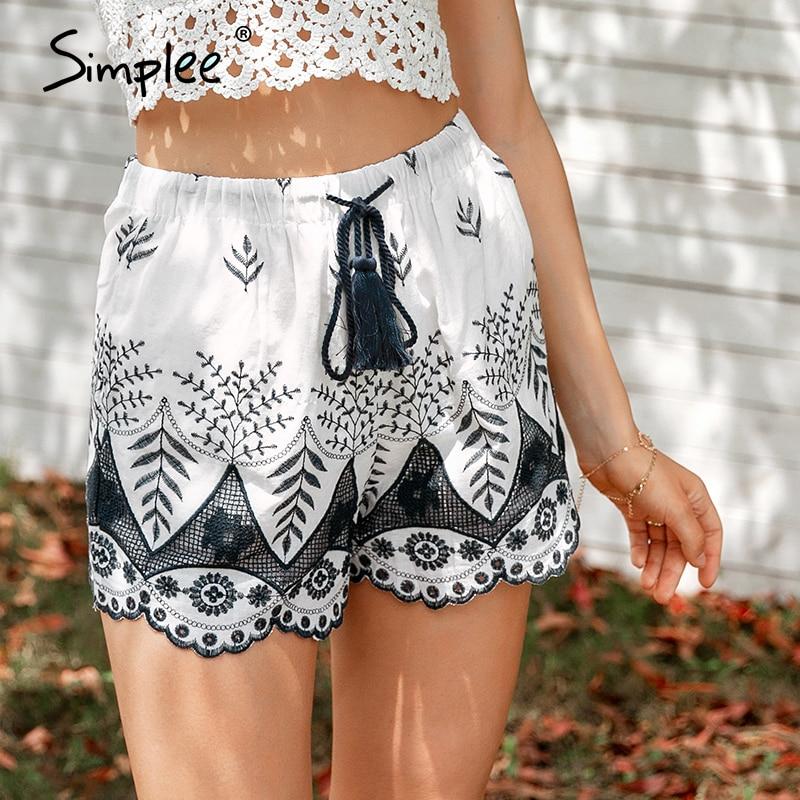 Simplee Embroidery Tassel High Waist Shorts Women Drawstring Loose Print Shorts Casual Fringe Beach Summer Shorts Femme 2018
