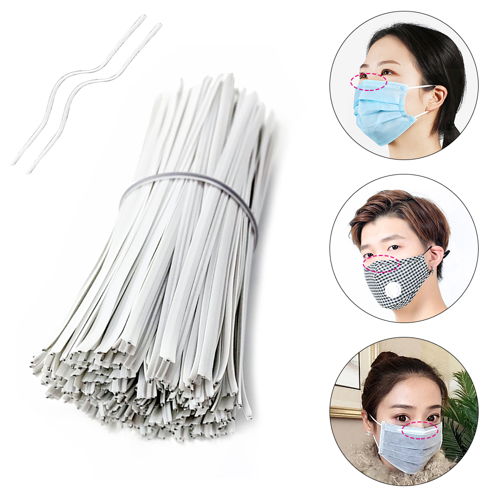100PCS/lot Metal Wire Aluminum Deformable Mask Nose Strips Nose Bridge Nose Clip With Adhesive Back DIY Disposable Mask Material