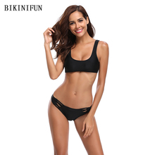 New Sexy Solid Black Bikini Women Swimsuit Strappy Bandage Back Swimwear S-XL Girl Backless Hollow Bathing Suit Micro Bikini Set