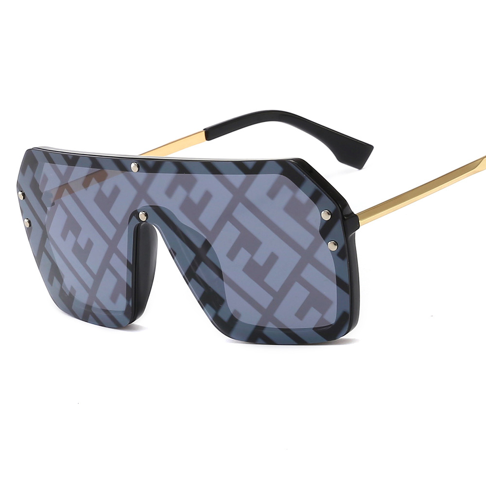 New Oversized Square Women Sunglasses With F 2020 Luxury Metal Brand One Piece Gafas Lentes Shade Sun Glasses Men Oculos De Sol