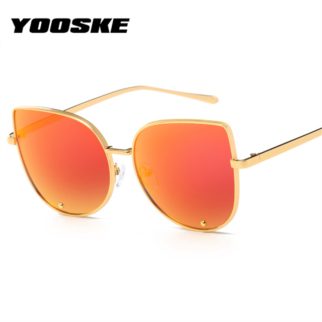YOOSKE Cat Eye Sunglasses Women Retro Mirror Lens Sun Glasses Gradient Eyewear UV400 Metal Frame