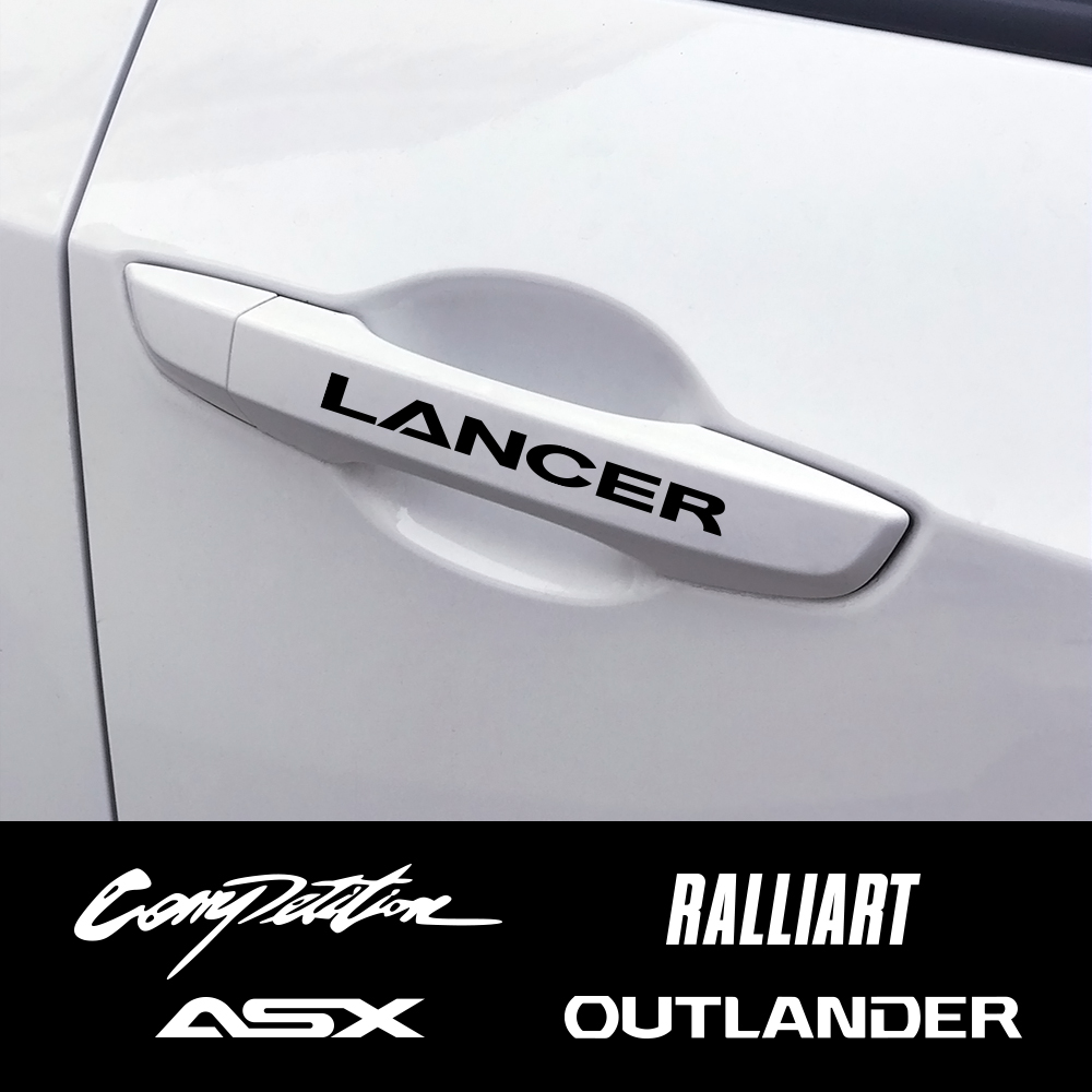 4PCS Car Door Handle Reflective Stickers For Mitsubishi Lancer 10 3 9 EX Outlander 3 ASX L200 Ralliart Competition Accessories