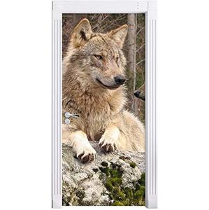 Наклейка на дверь с волком, тигром, львом, лисой