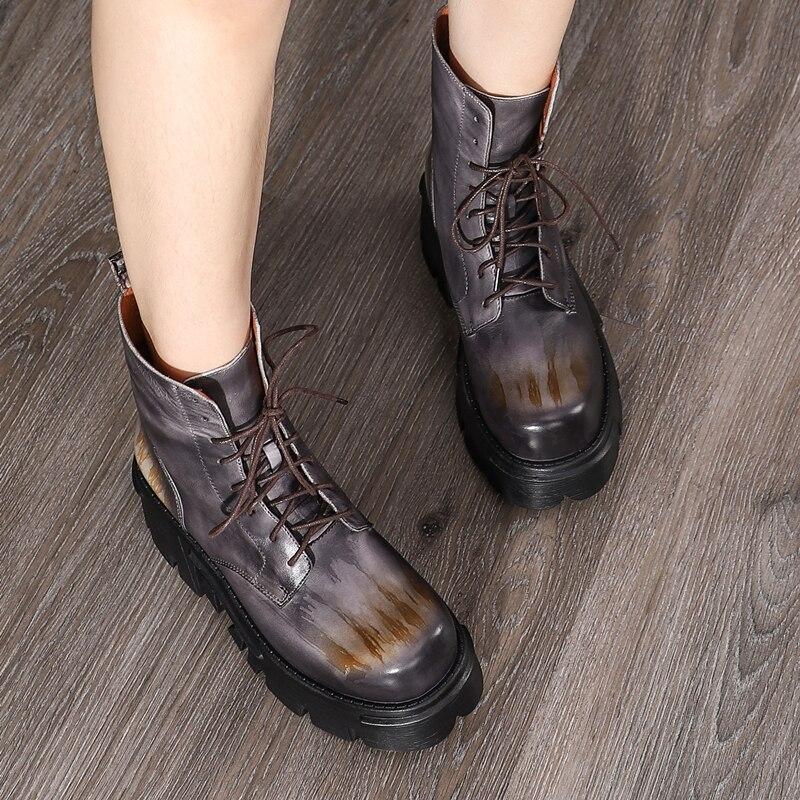 Vrouwen Laarzen Merk Lederen Hoge Hakken Wig Schoenen Vrouwen Martin Rijlaarzen Lederen Motorlaarzen Meisjes Handmade275 - 5